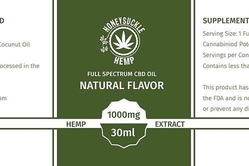 Honeysuckle Hemp Full Spectrum CBD Oil (Natural/Coconut) 1000mg 30ml