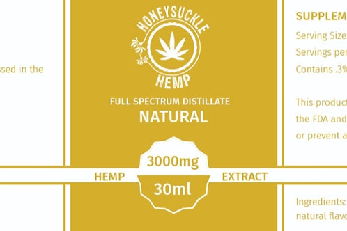 Honeysuckle Hemp 3000mg Full Spectrum CBD Oil Natural flavor
