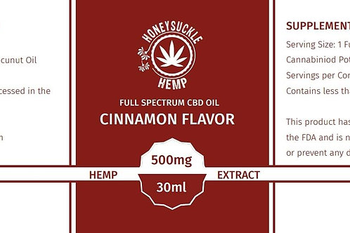 Honeysuckle Hemp Full Spectrum CBD Oil Cinnamon 500mg