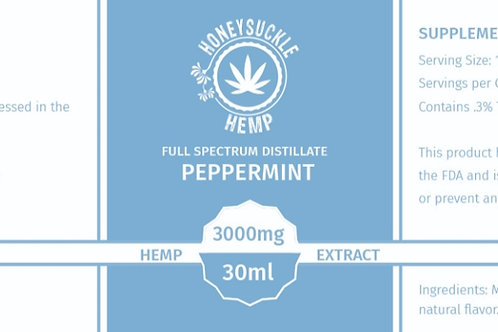 Honeysuckle Hemp 3000mg Full Spectrum CBD Oil Peppermint