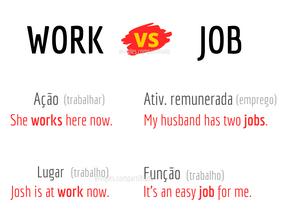 SAIBA A DIFERENÇA DE: WORK E JOB