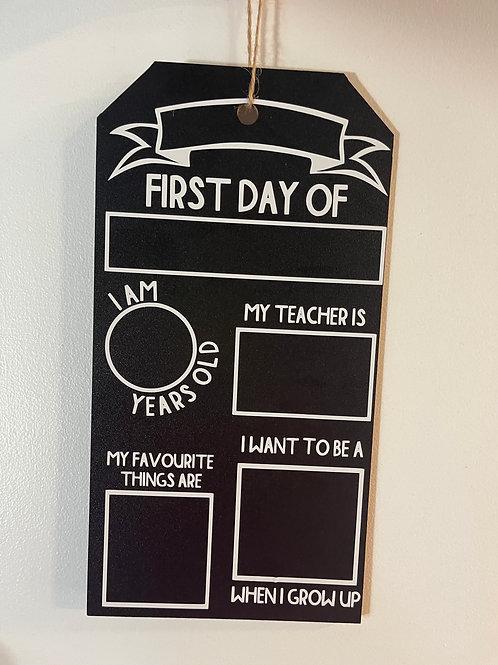 First day chalkboard