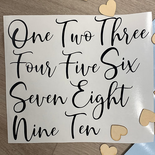 Table Number decals