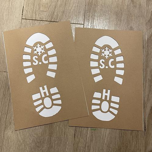 Santa shoe print stencil