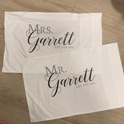 Mr & Mrs personalised pillowcases