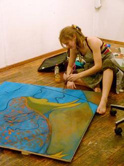 Celeste Painting in Gian Berto Vanni NYC Art Studio
