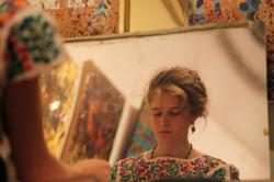 Celeste Painting in Painting in Gian Berto Vanni NYC Art Studio
