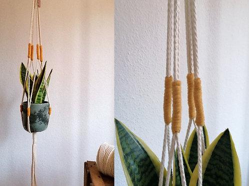 FANCY Blumenampel natur/senfgelb extralang