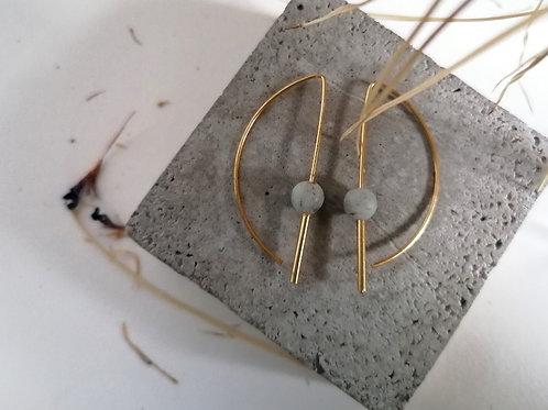 IOK Ohrhänger in gold, Edelstein Achat