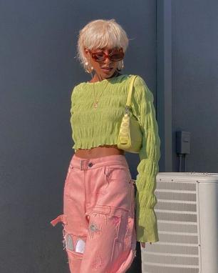 Printemps Été 2021 vêtements coloré couleur original fluorescent monochrome