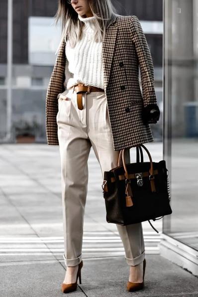 Printemps Été 2021 Mode Veston pantalon sacoche carreaux