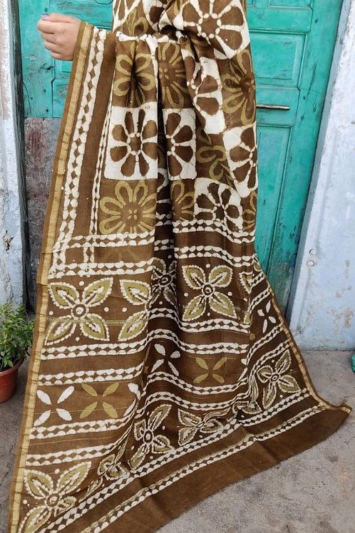 CS19 Chanderi Silk Hand Block Printed