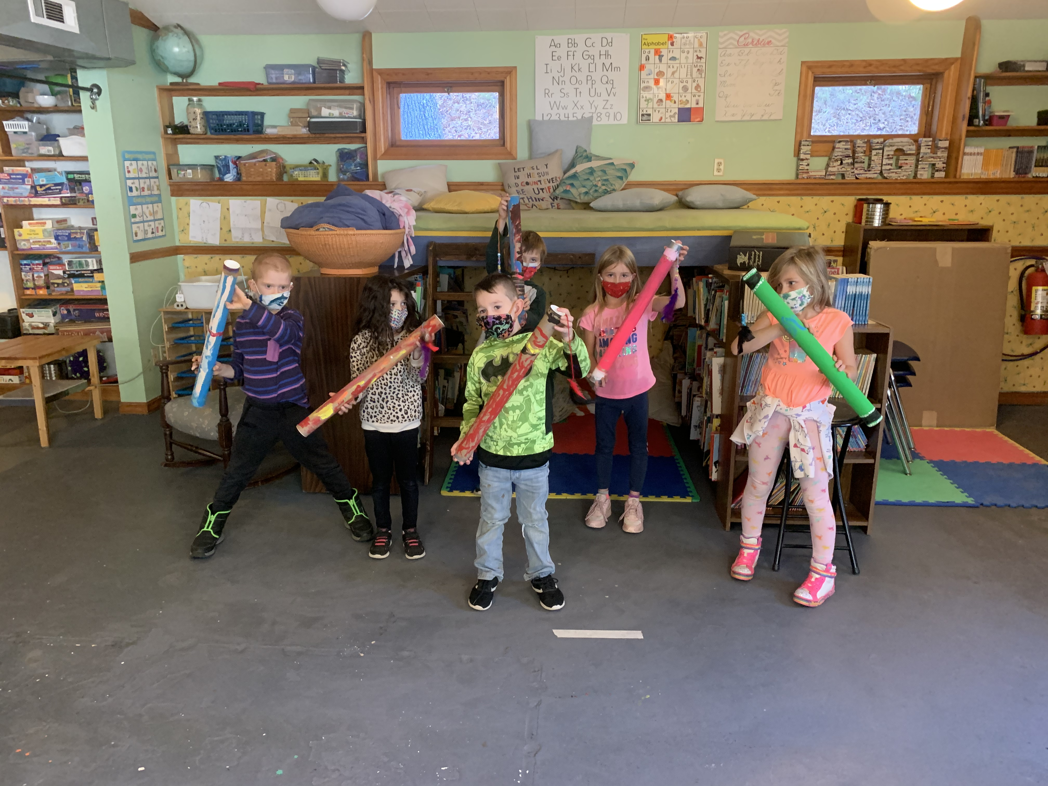 Rigdon's class with their Rainstick creations