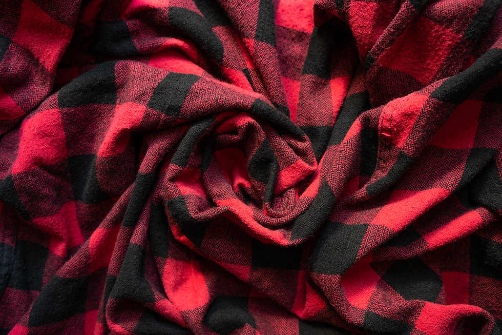 Wrinkled black and red cell clothes back