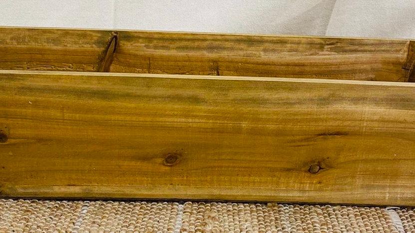Boîte bois foncé avec anses cordes