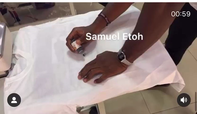 Samuel Etoh creating a unique hand painted design for Gembawear
