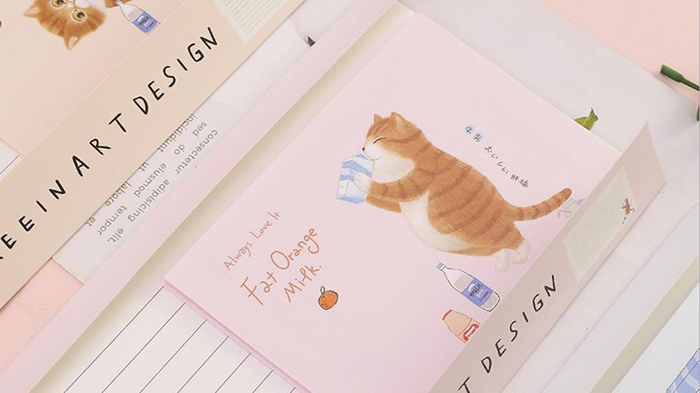 Fat Orange Cat Letter Paper with Envelope