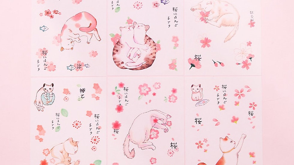 Cartoon hand-painted stickers set