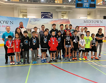 Gao badminton athletes standing on court
