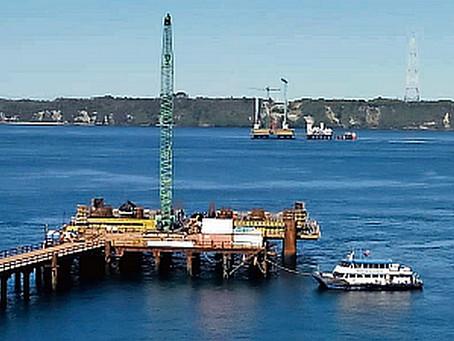 Concluye construcción de los 54 pilotes en el mar del Puente Chacao