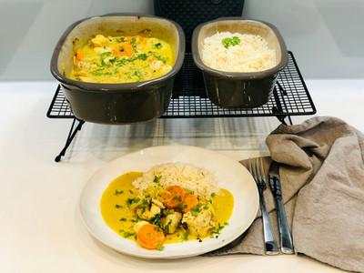 Putencurry aus dem Ofenmeister mit Reis aus dem kleinen Zaubermeister Lily von Pampered Chef®