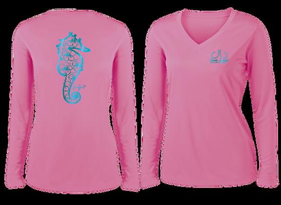 Ladies Metallic Hibiscus Seahorse Performance LS