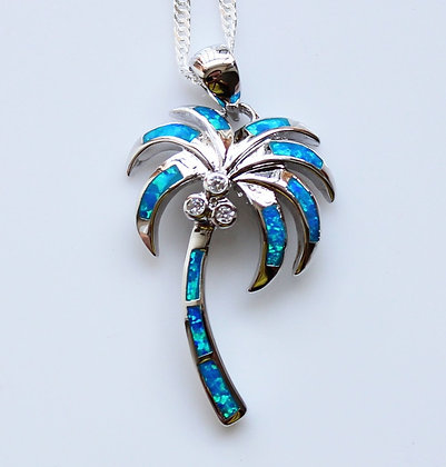 Tropical Palm Tree Opal Necklace