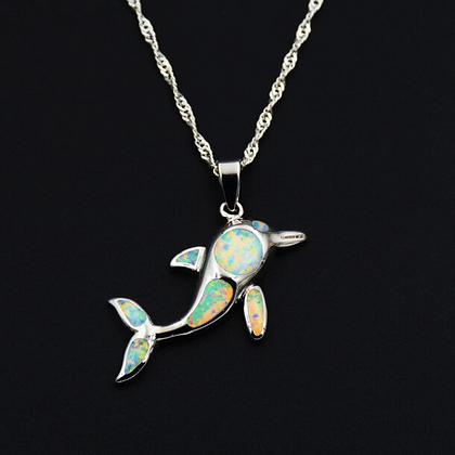 Dolphin  Opal Necklace