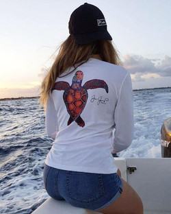 Big thank for this lovely lady for showing off her Sea turtle v neck sun shirt! #turtle #polyester #