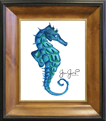 Lone Seahorse On Canvas