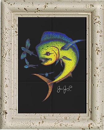 Dotted Mahi Tile art & Coral Frame