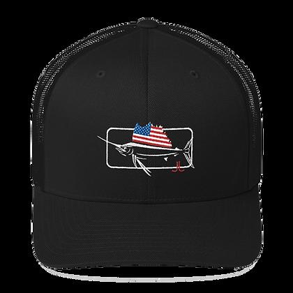 Patriotic Sailfish Black Mesh Trucker