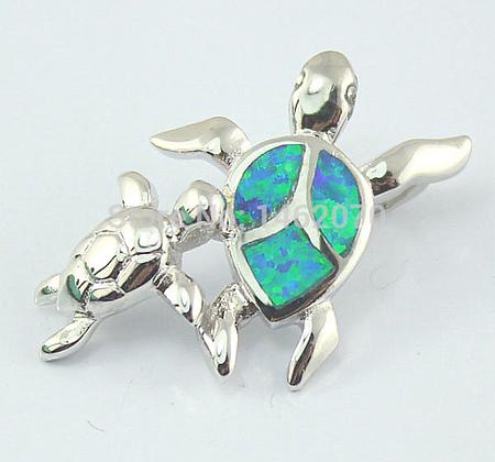 Sea Turtle Pair Opal Necklace