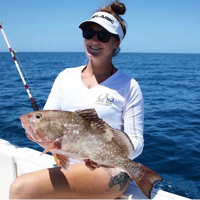Nice grouper caught by this lovely lady _captkrisp While wearing our ladies performance fishing shir