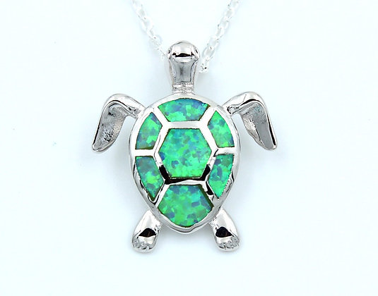 Rounded Sea Turtle Opal Necklace