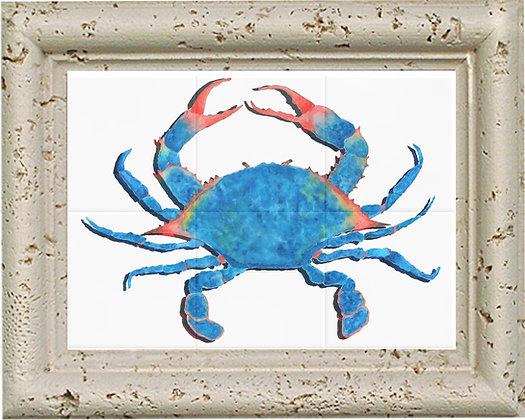 Blue Crab Tile art & Coral Frame