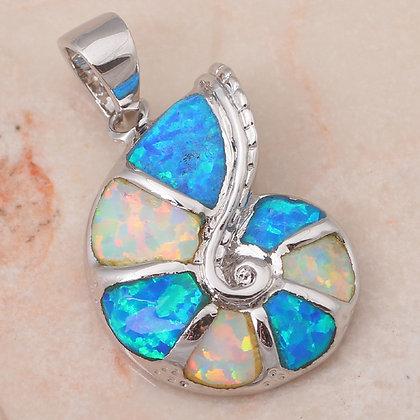 Nautilus Shell Multi Opal Necklace