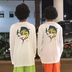 Twins representing our original mahi print youth long sleeves! #Mahi #original #actuallytwins