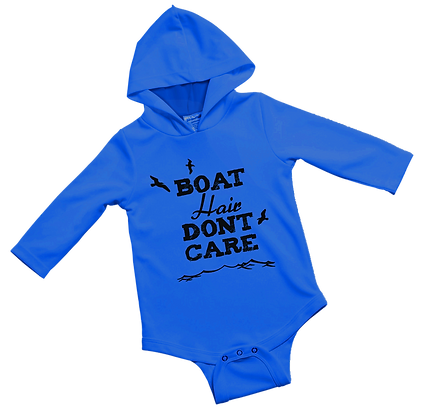 Boat Hair Don't Care Blue Baby Onesie