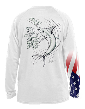Youth Dotted Marlin With USA Sleeve