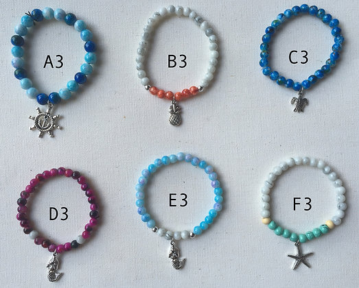 Nautical Glass Bead Bracelets