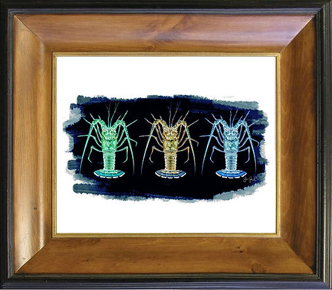 Three Lobsters Tarpon On Canvas