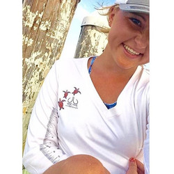 Check out this beautiful lady Representing our ladies Sea Turtle performance long sleeve