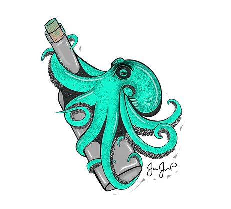 Teal Kraken Sticker