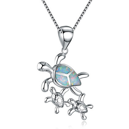 Sea Turtle Trio Opal Necklace