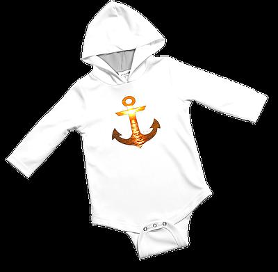 Orange Sunset Anchor Baby Onesie