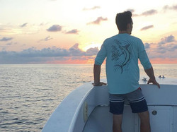 Some action this morning while wearing our Seagrass colored Marlin Performance long sleeve #jessieje