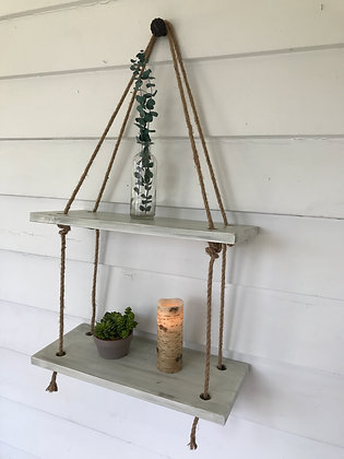 Rustic double shelf with jute rope