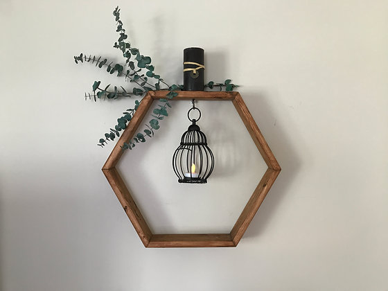 Hexagon Shelf with Lantern