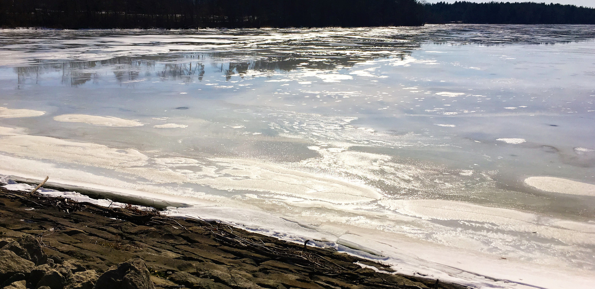 Ice on the Meander Reservoir, photo by C. Hrusovsky